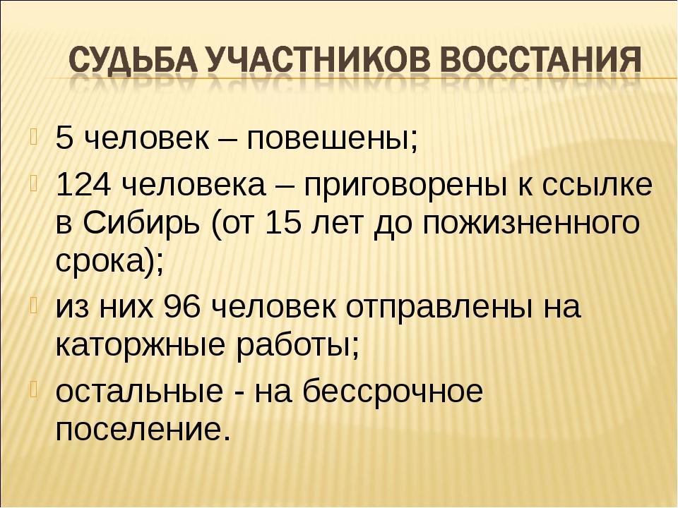 5 человек – повешены; 124 человека – приговорены к ссылке в Сибирь (от 15 лет...