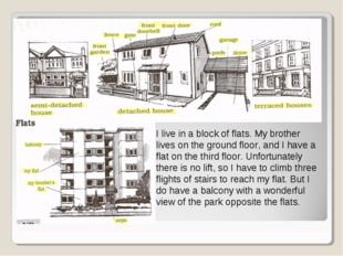 I live in a block of flats. My brother lives on the ground floor, and I have