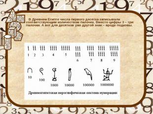 В Древнем Египте числа первого десятка записывали соответствующим количество