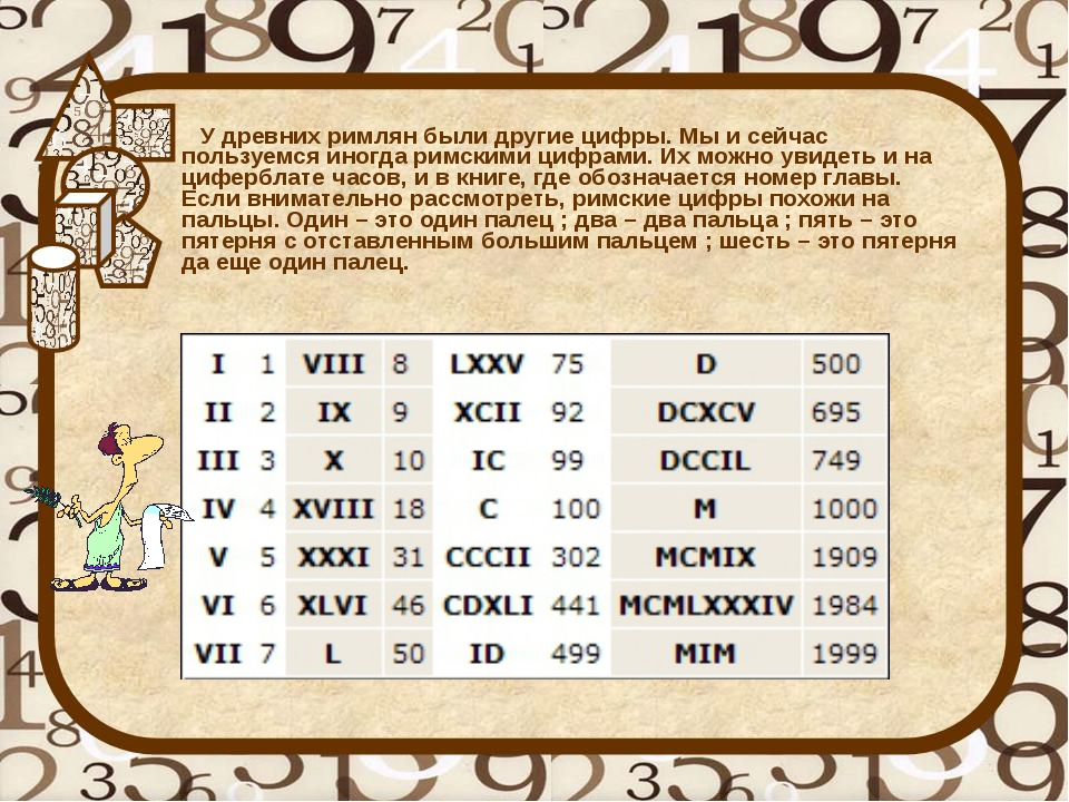 У древних римлян были другие цифры. Мы и сейчас пользуемся иногда римскими ц...