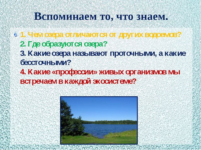 Вспоминаем то, что знаем. 1. Чем озера отличаются от других водоемов? 2. Где...