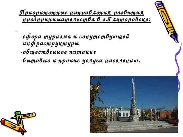 Приоритетные направления развития предпринимательства в г.Ялуторовске: -сфер...