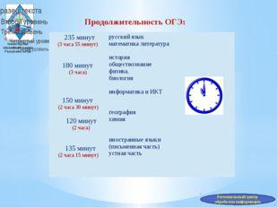 Министерство образования и науки Республики Алтай Продолжительность ОГЭ: Реги