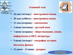 Министерство образования и науки Республики Алтай Основной этап: 26 мая (четв