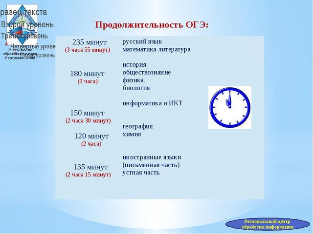 Министерство образования и науки Республики Алтай Продолжительность ОГЭ: Реги...