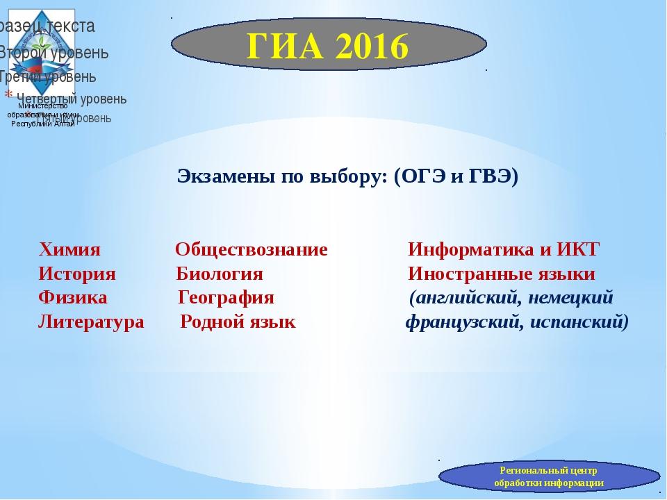 Министерство образования и науки Республики Алтай Экзамены по выбору: (ОГЭ и...