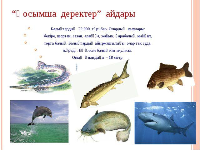 """""""Қосымша деректер"""" айдары Балықтардың 22 000 түрі бар. Олардың атаулары: бекі..."""