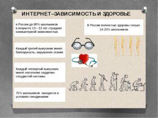ИНТЕРНЕТ–ЗАВИСИМОСТЬ И ЗДОРОВЬЕ В России полностью здоровы только 14-23% шко