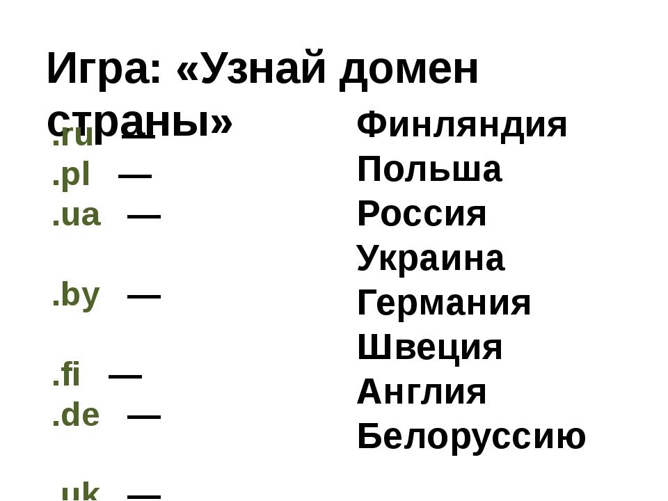 Игра: «Узнай домен страны» .ru  —  .pl  —  .ua  —  .by  —  .fi  — ...