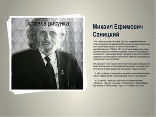 Михаил Ефимович Саницкий . М.Е.Саницкий родился 8 ноября 1929 года в деревне