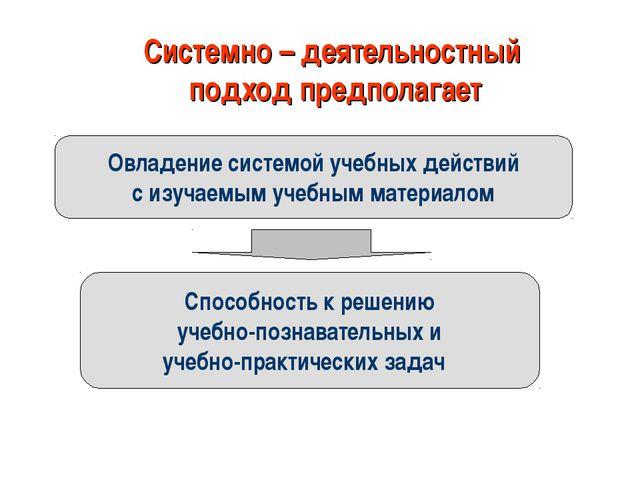 Системно – деятельностный подход предполагает Овладение системой учебных дейс...