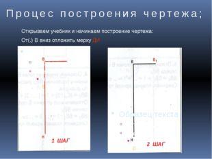 Процес построения чертежа; 1 ШАГ 2 ШАГ Открываем учебник и начинаем построени