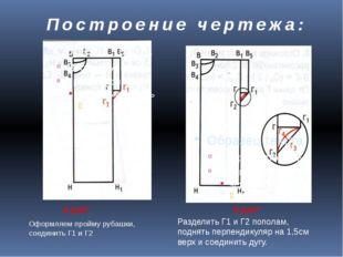 Построение чертежа: 8 ШАГ 9 ШАГ Оформляем пройму рубашки, соединить Г1 и Г2 Р