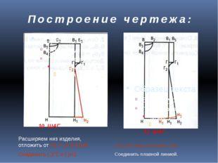 Построение чертежа: 10 ШАГ 11 ШАГ Расширяем низ изделия, отложить от Н1 = от