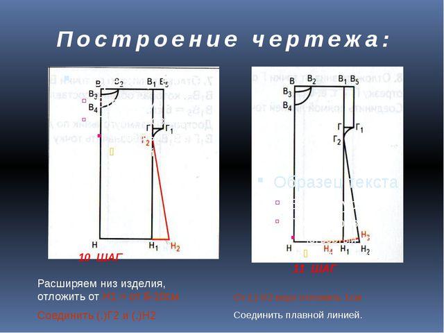 Построение чертежа: 10 ШАГ 11 ШАГ Расширяем низ изделия, отложить от Н1 = от...