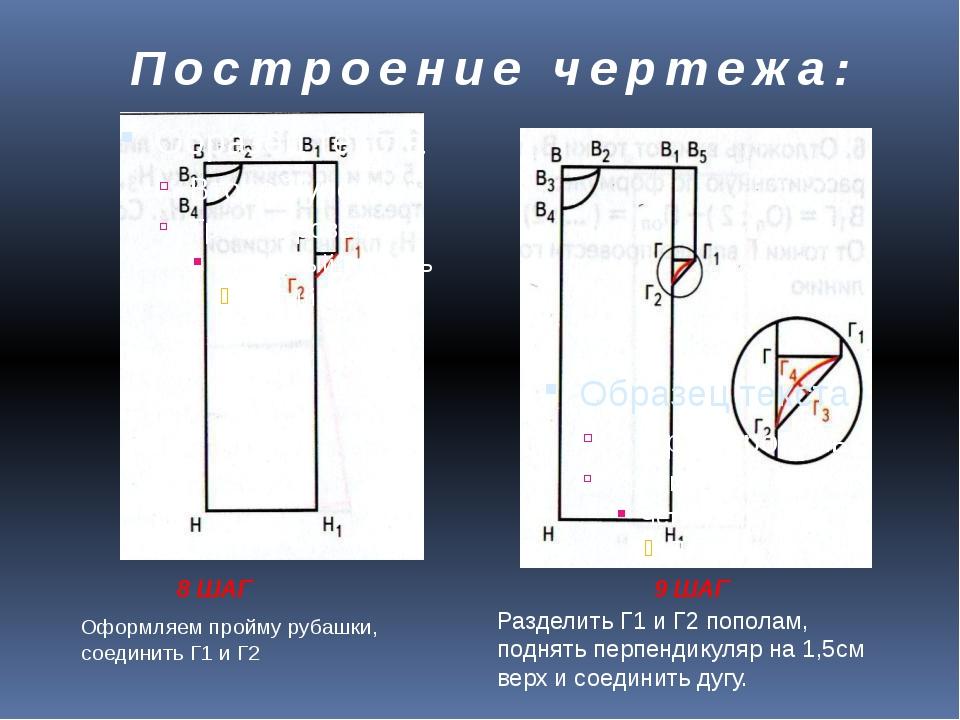 Построение чертежа: 8 ШАГ 9 ШАГ Оформляем пройму рубашки, соединить Г1 и Г2 Р...
