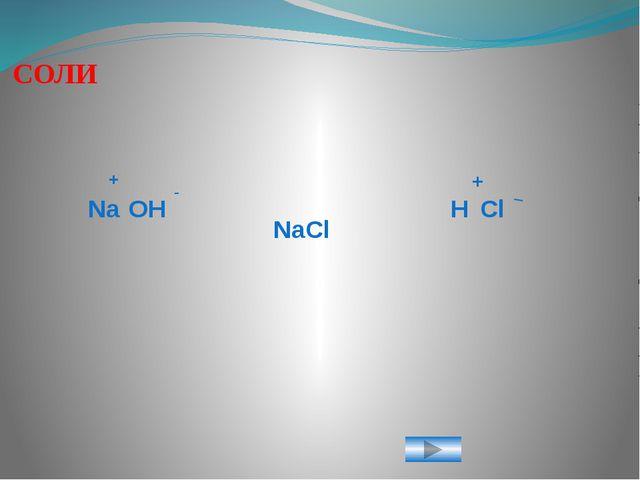 Na OH H Cl NaCl + - + _ СОЛИ Слайд 7.