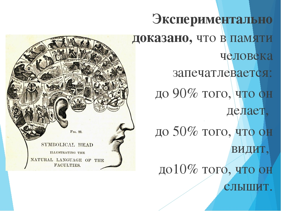Экспериментально доказано, что в памяти человека запечатлевается: до 90% того...