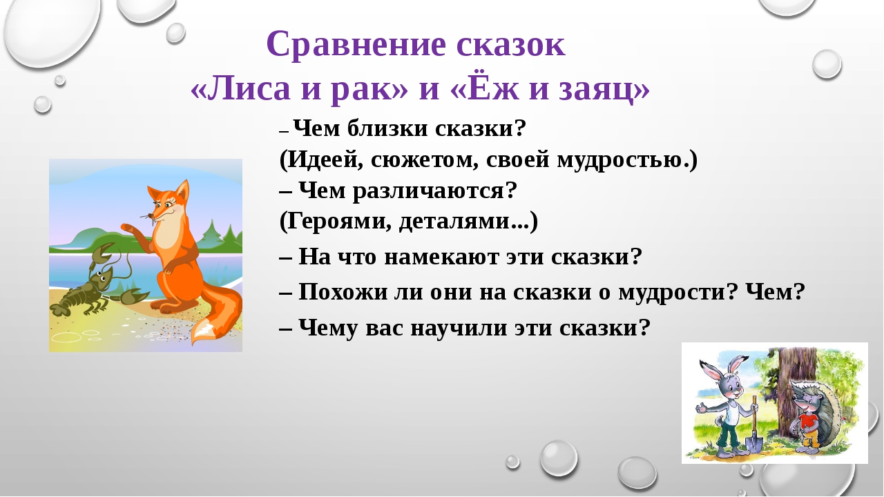 Сравнение сказок «Лиса и рак» и «Ёж и заяц» – Чем близки сказки? (Идеей, сюже...