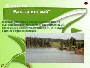 """Заказник """" Балтасинский"""". В апреле 2000 года в Балтасинском районе РТ был орг"""