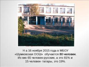 Н а 16 ноября 2015 года в МБОУ «Шумковская ООШ» обучается 80 человек. Из них