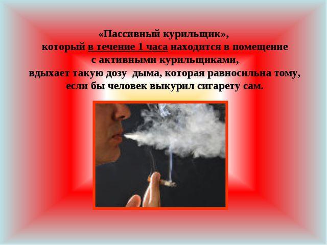 «Пассивный курильщик», который в течение 1 часа находится в помещение с актив...