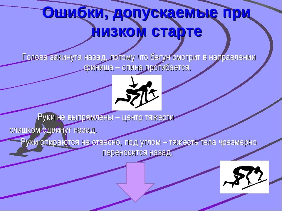 Ошибки, допускаемые при низком старте Голова закинута назад, потому что бегун...