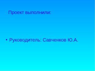 Проект выполнили: Руководитель: Савченков Ю.А.