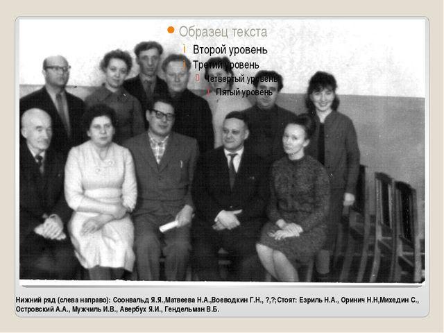 Нижний ряд (слева направо): Соонвальд Я.Я.,Матвеева Н.А.,Воеводкин Г.Н., ?,?;...