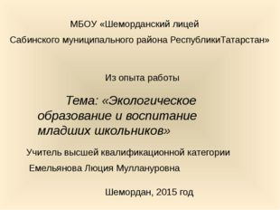 МБОУ «Шеморданский лицей Сабинского муниципального района РеспубликиТатарста