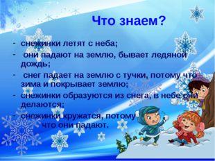 Что знаем? снежинки летят с неба; они падают на землю, бывает ледяной дождь;