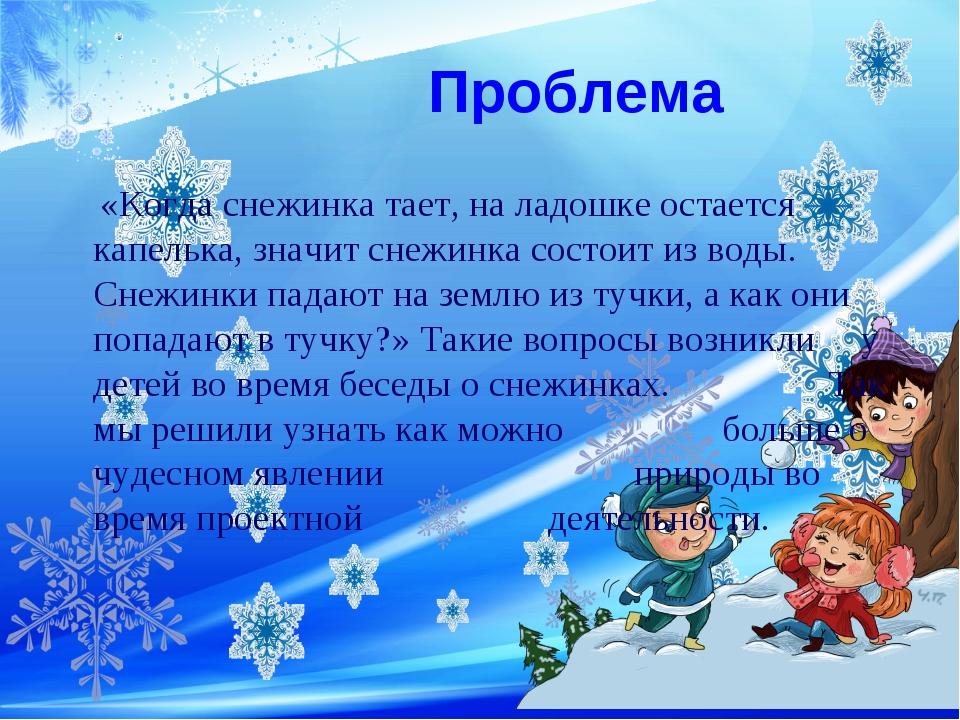 Проблема «Когда снежинка тает, на ладошке остается капелька, значит снежинка...