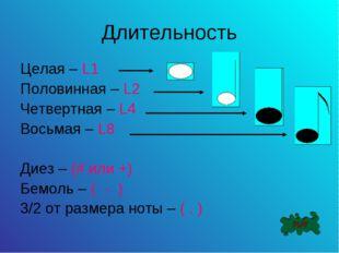 Длительность Целая – L1 Половинная – L2 Четвертная – L4 Восьмая – L8 Диез – (
