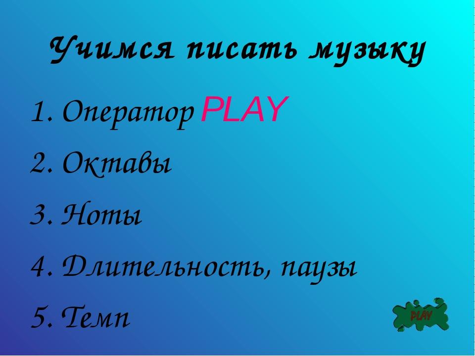 Учимся писать музыку Оператор PLAY Октавы Ноты Длительность, паузы Темп
