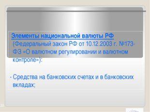 Элементы национальной валюты РФ (Федеральный закон РФ от 10.12.2003 г. №173-