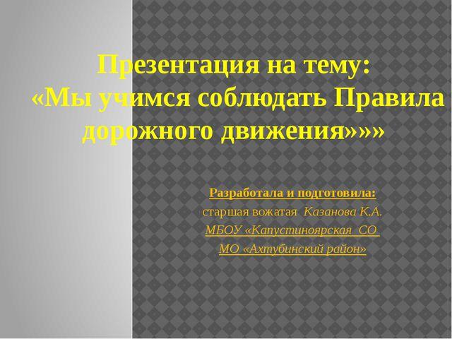 Презентация на тему: «Мы учимся соблюдать Правила дорожного движения»»» Разра...