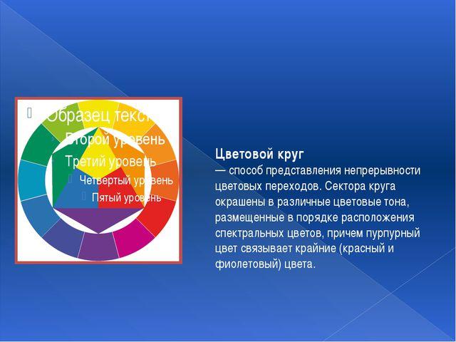 Цветовой круг — способ представления непрерывности цветовых переходов. Сектор...