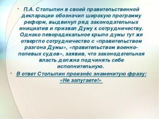 П.А. Столыпин в своей правительственной декларации обозначил широкую программ