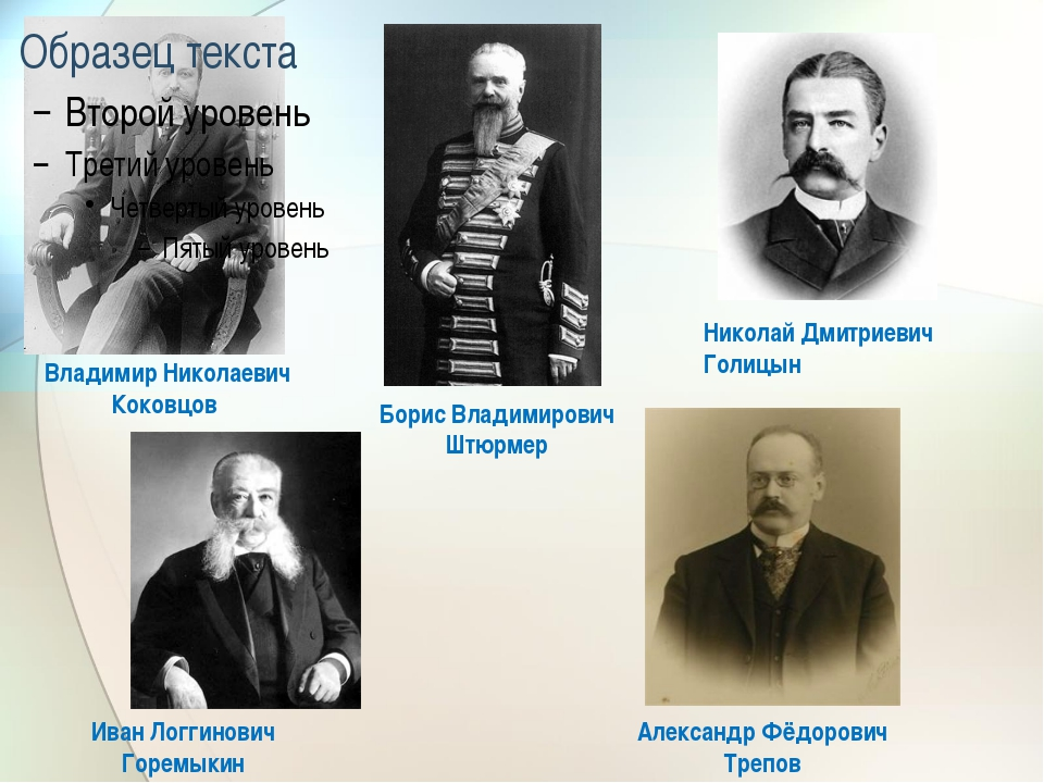 Владимир Николаевич Коковцов Иван Логгинович Горемыкин Александр Фёдорович Т...