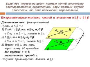 Если две пересекающиеся прямые одной плоскости соответственно параллельны дву