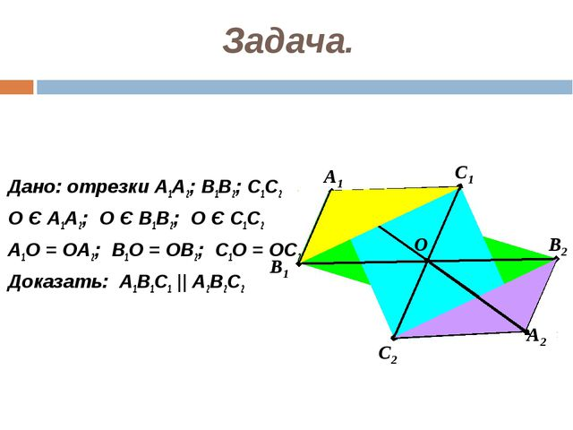 Задача. Дано: отрезки А1А2; В1В2; С1С2 О Є А1А2; О Є В1В2; О Є С1С2 А1О = ОА2...