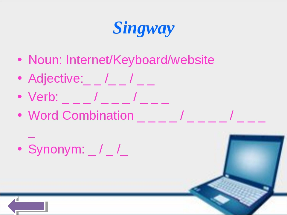 Singway Noun: Internet/Keyboard/website Adjective:_ _ /_ _ / _ _ Verb: _ _ _...