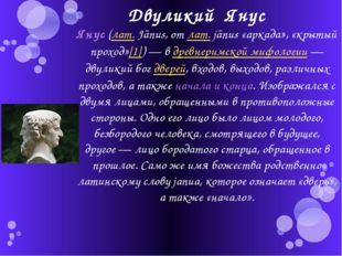 Двуликий Янус Янус (лат.Jānus, от лат.jānus «аркада», «крытый проход»[1])—
