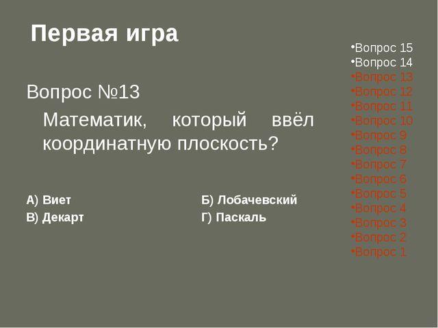 Первая игра Вопрос №13 Математик, который ввёл координатную плоскость? А) Ви...