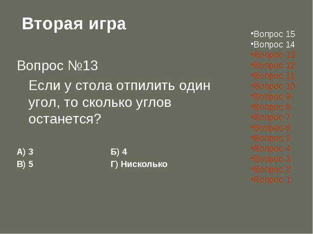 Вторая игра Вопрос №13 Если у стола отпилить один угол, то сколько углов ост...