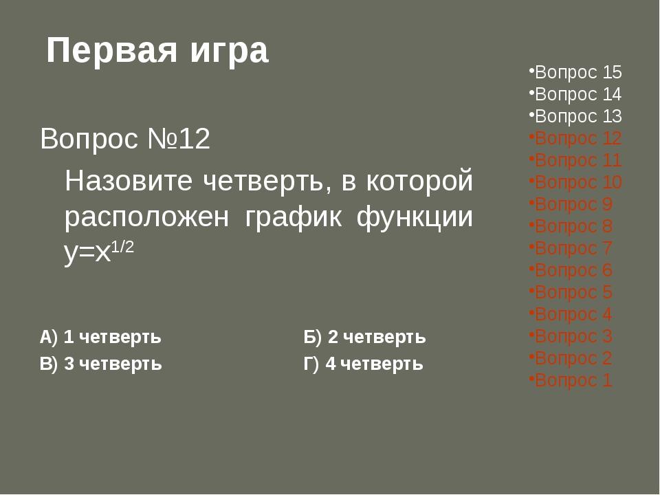 Первая игра Вопрос №12 Назовите четверть, в которой расположен график функци...