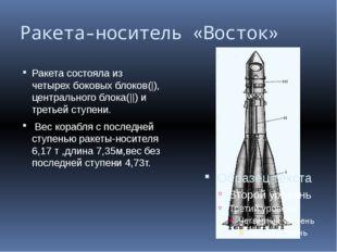 Ракета-носитель «Восток» Ракета состояла из четырех боковых блоков(|), центра