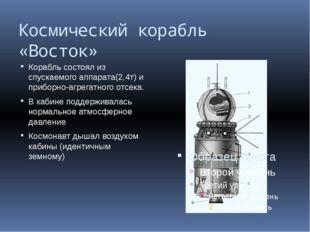 Космический корабль «Восток» Корабль состоял из спускаемого аппарата(2,4т) и