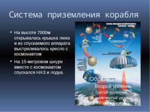 Система приземления корабля На высоте 7000м открывалась крышка люка и из спус