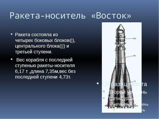 Ракета-носитель «Восток» Ракета состояла из четырех боковых блоков(|), центра...